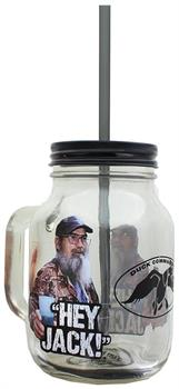 Duck Commander Hey Jack Clear Mason Jar w/ Straw & Lid