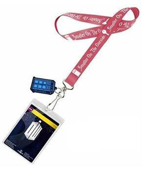 "Doctor Who Lanyard ""Smaller On The Outside"" with 2D TARDIS Charm"