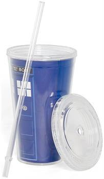 Doctor Who 16oz TARDIS Carnival Cup with Lid and Straw