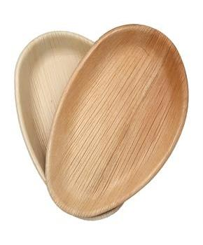 "Dtocs Natural Palm Leaf 10"" X 6"" Oval Disposable Party Plates, Chemical Free, Biodegradable and Eco Friendly."