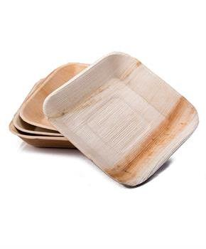 "Dtocs Natural Palm Leaf 7"" Square Disposable Party Plates, Chemical Free, Biodegradable and Eco Friendly."