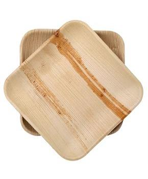 "Dtocs Natural Palm Leaf 8"" Square Disposable Party Plates, Chemical Free, Biodegradable and Eco Friendly."