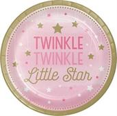 "Twinkle Twinkle Little Star Pink 9"" Dinner Plates"