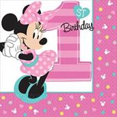 Disney Minnie Mouse 1st Birthday Beverage Napkins