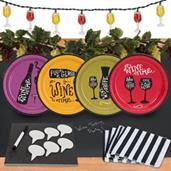 Wine Time 32 pc Appetizer Pack w/ Chalkboard Runner Cheese Board & Décor