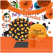 Halloween Candy Corn 16 Guest Tableware & Room Decor Kit