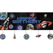 Space Blast Party Banner W/ Hanging Attachments