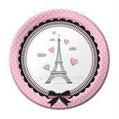 Pink Poodle in Paris Plates