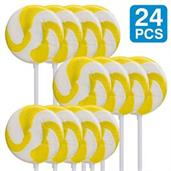 "Lemon Yellow 2"" Swirl Lollipops (24)"