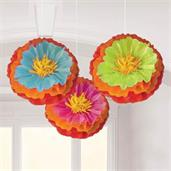 "Fiesta Fluffy Flower 16"" Decorations (3)"