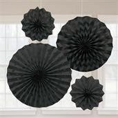 Black Glitter Paper Fan Decorations (4)