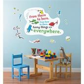 "Dr. Seuss One Fish Two Fish Inspirational Quote Giant Wall Decal 49"" x 39"""
