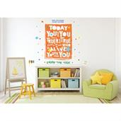 "Dr. Seuss Street Art Today You Are You Inspirational Quote Giant Wall Decal 49"" x 39"""