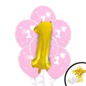 Pink/Gold 1st Birthday Balloon Bouquet