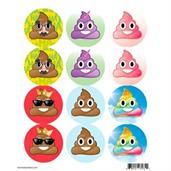 Emoji Poop Assortment Stickers (Sheet of 12)