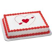 Heart and Arrow Quarter Sheet Edible Cake Topper (