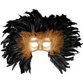 Deluxe Gold And Black Feather Mask