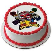 "Go Go Power Rangers! 7.5"" Round Edible Cake Topper (Each)"