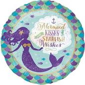 "MERMAID WISHES & KISSES HOLO 18"" FOIL BALLOON-P"