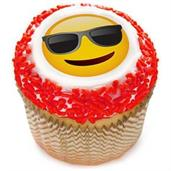 "Emoji Sunglasses 2"" Edible Cupcake Topper (12 Images)"