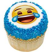 "Emoji Tears of Joy 2"" Edible Cupcake Topper (12 Images)"