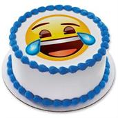 "Emoji Tears of Joy 7.5"" Round Edible Cake Topper (Each)"
