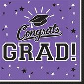 Graduation Lunch Napkins Purple (36 Count)