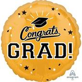 "Graduation 18"" Foil Balloon Gold (1)"