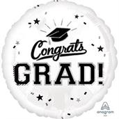 "Graduation 18"" Foil Balloon White (1)"