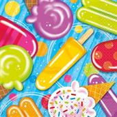 Ice Cream Lunch Napkins (16 Count)