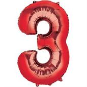 "34"" Number 3 Shaped Foil Balloon - Red"
