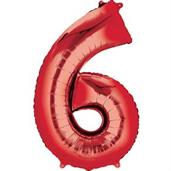 "34"" Number 6 Shaped Foil Balloon - Red"