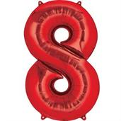 "34"" Number 8 Shaped Foil Balloon - Red"
