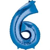 "34"" Number 6 Shaped Foil Balloon - Blue"