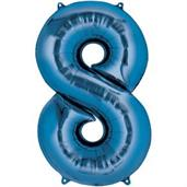 "34"" Number 8 Shaped Foil Balloon - Blue"