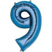 "34"" Number 9 Shaped Foil Balloon - Blue"