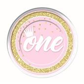 "1st Birthday Pink 9"" Lunch Plate (8)"