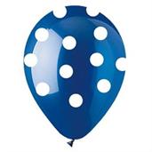 Blue Polka Dot Latex Balloons (6)