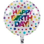 Metallic Rainbow Happy Birthday Balloon