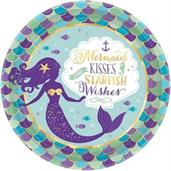"Mermaid Wishes 9"" Metallic Lunch Plates (8)"