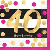 Pink & Gold 40th Birthday Beverage Napkins (16)