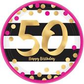 "Pink & Gold 50th Birthday 7"" Metallic Plates (8)"