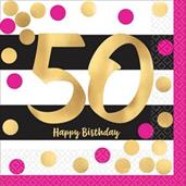 Pink & Gold 50th Birthday Beverage Napkins (16)