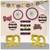 Pink & Gold 50th Birthday Room Decoration Kit