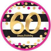 "Pink & Gold 60th Birthday 7"" Metallic Plates (8)"