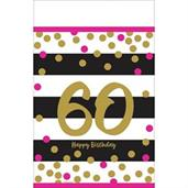 Pink & Gold 60th Birthday Plastic Tablecover