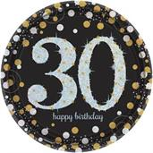 "Sparkling Celebration Plate 9"" Lunch Plates 30th (8)"