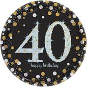 "Sparkling Celebration 7"" Dessert Plates 40th (8)"