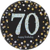 "Sparkling Celebration Prismatic 7"" Plates 70th (8)"