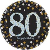 "Sparkling Celebration 9"" Lunch Plates 80th (8)"